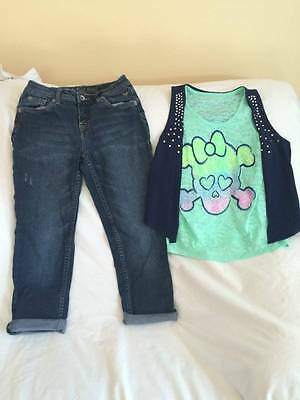 Justice Girls Size 12 Jeans / Skull Sparkle Top Outfit - Trendy Style