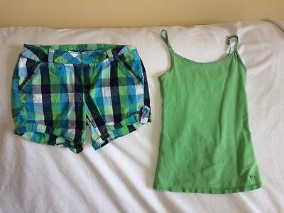 Justice Girls Size 8 Plaid Shorts / Cami Tank Top Outfit
