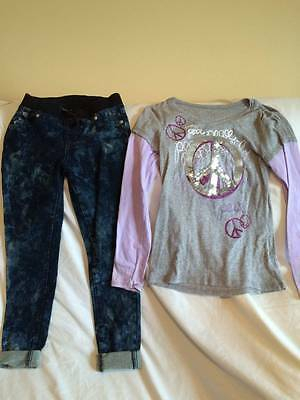Justice Girls Size 12 Sparkle Top / Jeans Outfit - Back To School Outfit