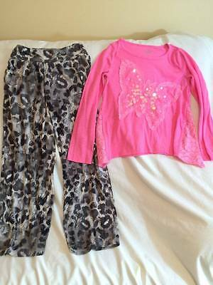 Justice Girls Size 10 Gray Leopard Pants / Butterfly Top Outfit