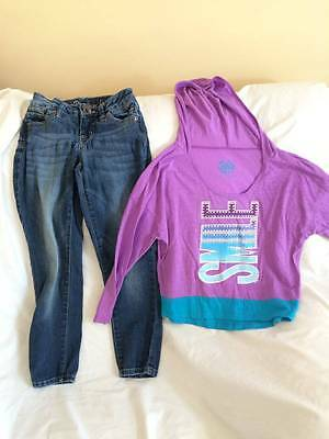 Justice Girls Size 7 Jeans / Smile Theme Hoodie Top Outfit - Trendy Style