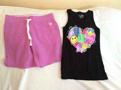 Justice Girls Size 14 Athleic Shorts / Smiley Face Tank Top Outfit