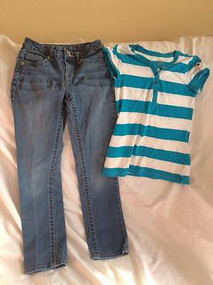 Justice Girls Size 10 Slim Jeans / Top Outfit - Back To School