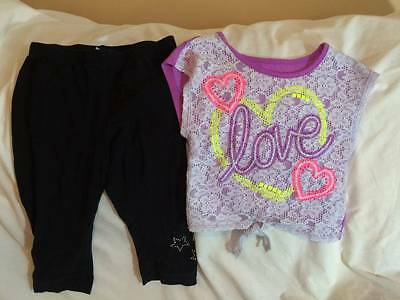 Justice Girls Size 7 / 8 Love Theme Top / Cropped Leggings Outfit