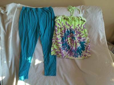 Justice Girls Size 14 / 16 Halter Style Top / Leggings Outfit - Trendy Style