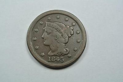 1845 Braided Hair Large One Cent, Fine Condition - C2645