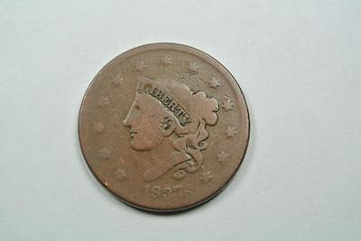 1837 Coronet Head Large One Cent, Good/VG Condition - C2638