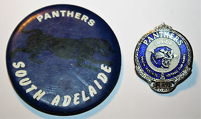 Vintage SANFL South Adelaide Panthers Football Club Badges x2 - South Australia