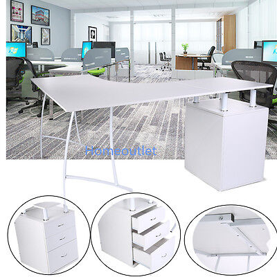 L-Shaped Corner Computer Desk PC Table Home Office Study with 3 Drawers White HT
