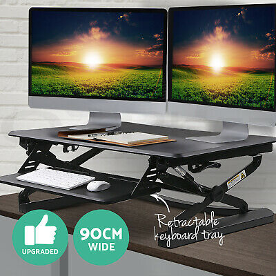 Height Adjustable Standing Desk Sit Stand Up Riser Computer Office Laptop Study