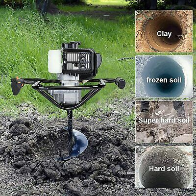 "ECO 52cc Power Engine 2.2HP Gas Powered Post Hole Digger 6"" + 10"" Auger Bits"