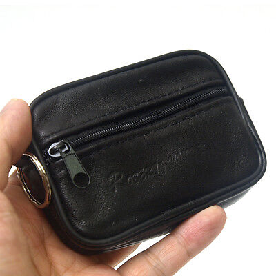New Mens BLACK Leather Coin Mini Zippered Wallet Purse-003