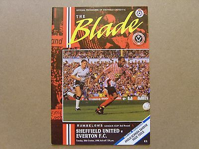 1990/91  SHEFFIELD UNITED v EVERTON  LEAGUE CUP 3rd Rd PROGRAMME   30/10/90