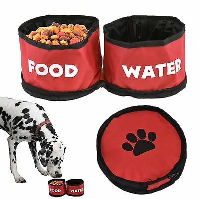 2in1 Travel Pet Bowl Dog Puppy Folding Collapsible Portable Food Drinking Water