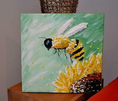 Green White Yellow BUMBLE BEE Sunflower Abstract Painting Acrylic on Canvas ART