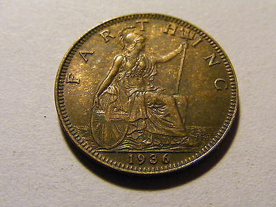 1936 George V Farthing Coin  - Some Lustre