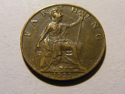 1921 George V Farthing Coin  -