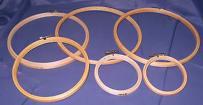 Embroidery Hoops - Six Of Various Sizes - Wooden With Adjusting Screw