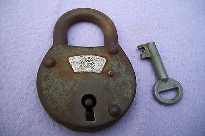 Vintage Iron Padlock With Key Made In Poland - In Good Working Order - Uncleaned