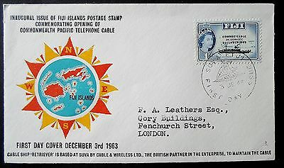Fiji QE II 1963 Compac Cable Commemoration 1/- Overprint -  First Day Cover