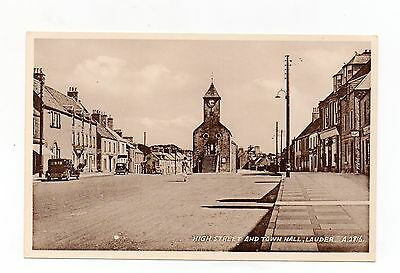 Old Postcard High Street And Town Hall Lauder Scotland