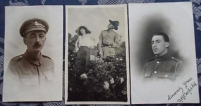 2 REAL PHOTOGRAPHIC POSTCARDS OF  1st WORLD WAR SOLDIERS