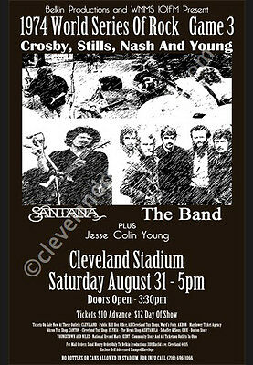 CSNY/Santana/The Band 1974 Cleveland Concert Poster