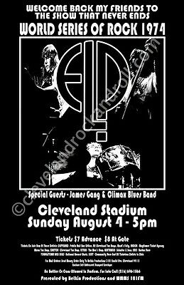 Emerson Lake And Palmer / ELP / James Gang / 1974 Cleveland Concert Poster