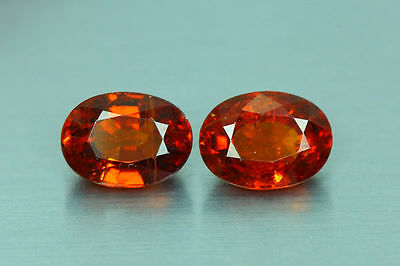 3.450Cts Amazing Top Luster Cut 100% Nr!! Fanta Orange Spessartite Garnet Pair!!