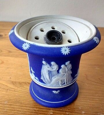 Antique Miniature Wedgwood Dark Blue Jasperware PASTILLE BURNER - Rare Survivor