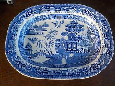 Antique Blue & White Willow Pattern Meat Platter Unsigned