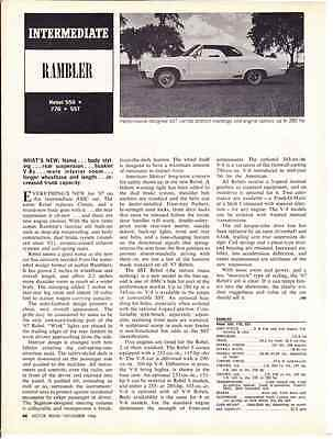 1967 Amc Rambler Rebel 550 * 770 * Sst  ~  Rare New Car Preview Article / Ad
