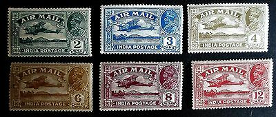 India KGV 1929 AIR MAIL Issue - Six Values SG 220 - 225  - LM/Mint