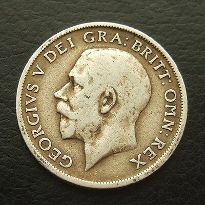 Gb 1918 Shilling : King George V Sterling Silver Coin #20