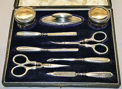 Antique 1909 Edwardian Silver Mounted Manicure Set by William Hair Haseler