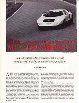 1970 Mercedes-Benz C111  ~  Great 5-Page Original Article / Ad