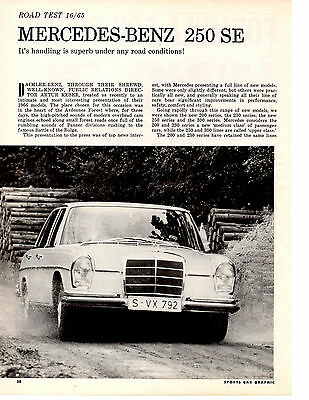 1966 Mercedes-Benz 250 Se  ~  Nice 6-Page Original Road Test / Article / Ad
