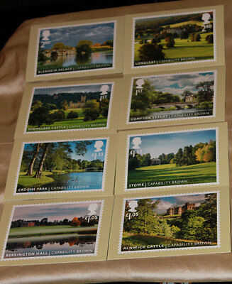 Capability Brown Landscaped Gardens Royal Mail. Pack of 8 New Postcards.