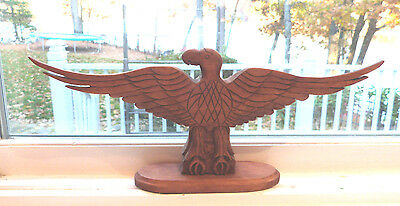 Wooden Sculpture Eagle Carved Wood Carved Signed And Dated Jhm 85 Folk Art