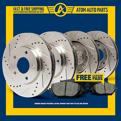 (FRONT & REAR KIT) Slotted & Drilled Rotors AND Metallic Brake Pads
