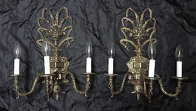 Antique Pair Of Large Solid Brass Wall Sconces Candelabra Basket Lamps Lights