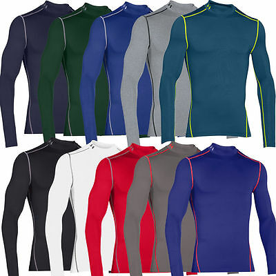 Under Armour Mens ColdGear Mock Long Sleeve Gym Compression T Shirt Tee Top