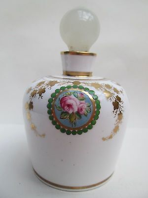 A Beautiful Vintage Floral Design Pottery Perfume Bottle With Stopper
