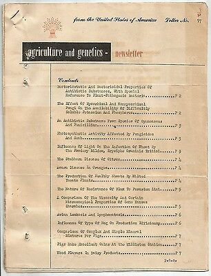 """""""Agriculture and Genetics"""" #17 1943 newsletter 10pgs"""