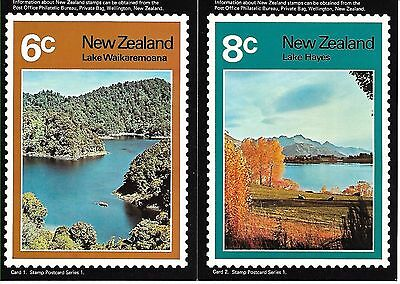 New Zealand 1972 Lake Scenes set of 5 mint postcards
