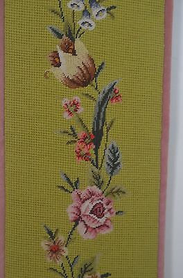 Sweet Vintage Needlepoint Bell Pull With Pink Velvet Backing Ss315