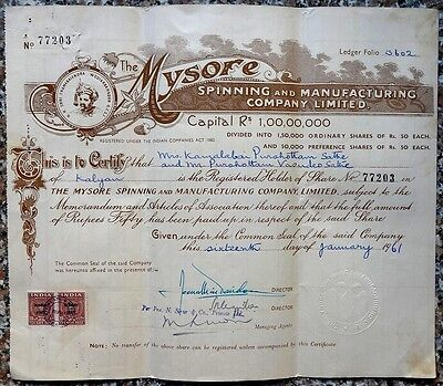 India MYSORE SPINNING 1961 illustrated share certificate