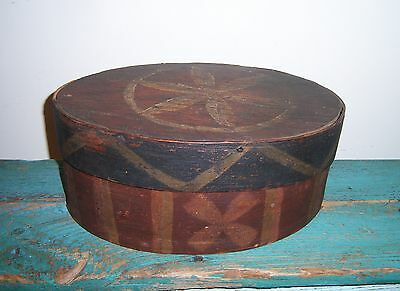 """Antique Painted Shaker Pantry 10"""" Oval Wooden Box"""