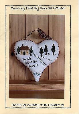 Folk art embroidery and applique chart. 'Home is where the Heart is'