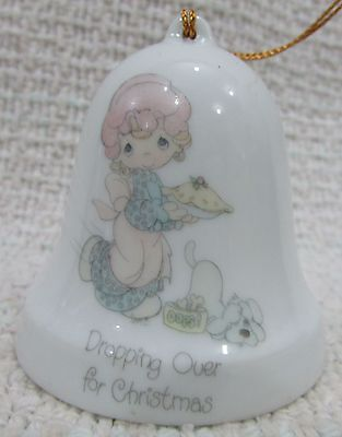 1985 Enesco Precious Moments Dropping Over for Christmas Porcelain Bell FREE S/H